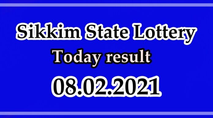 Sikkim State Lottery Today result, Sambad Result Today 08.02.2021 4pm
